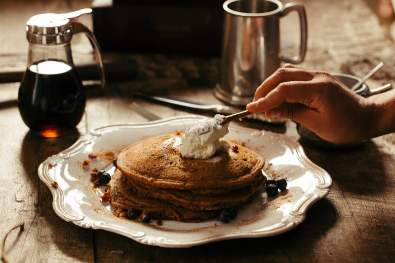 Orange-Blueberry Cornmeal Pancakes